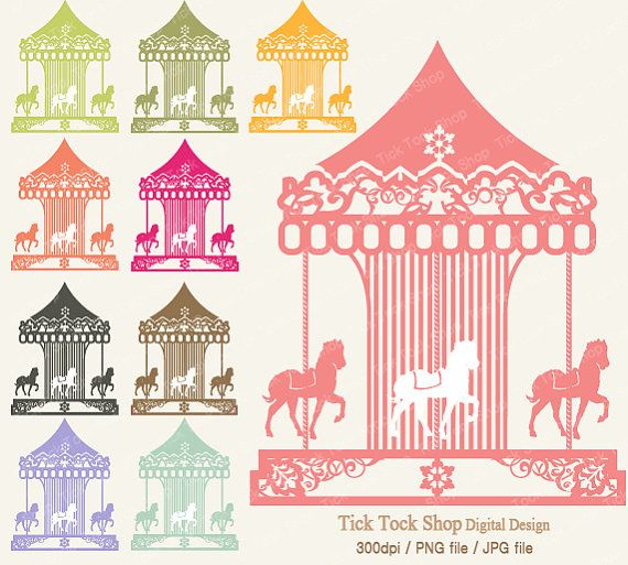 Merry Go Round Colrlful  SET 26 inch Clip Art  by KangByeol, $4.50