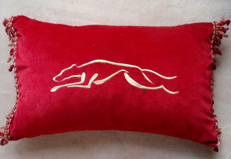 BN GREYHOUND EMBROIDERED IN GOLD ON RED  VELVET - CUSHION COVER- LOVELY