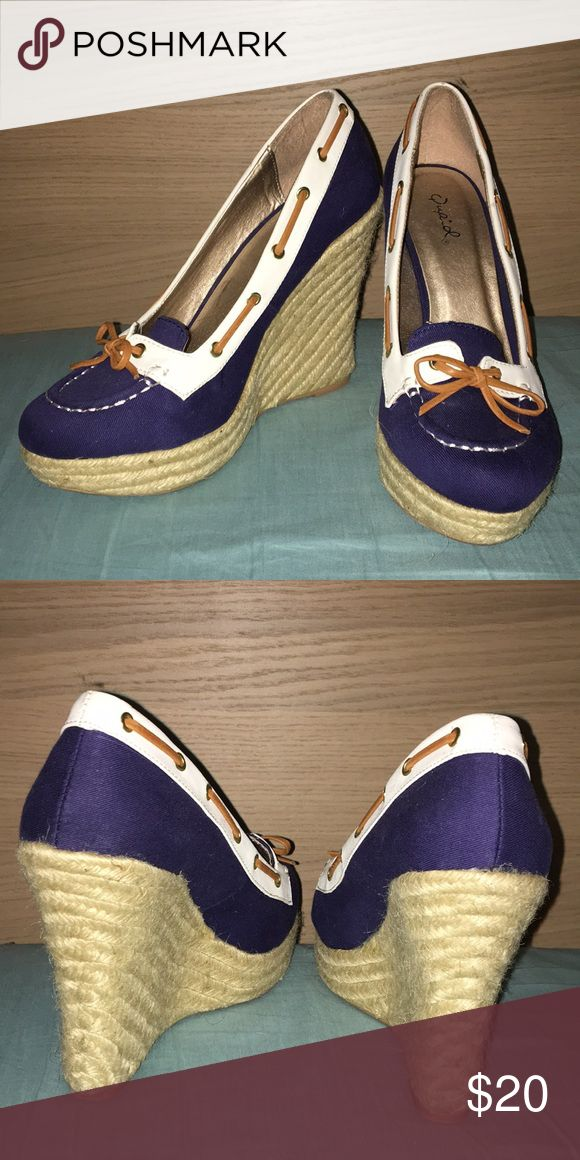 "Qupid Nautical Wedges Size 8 1/2 Only tried on once. These are gorgeous 4"" wedges. Qupid Shoes Wedges"