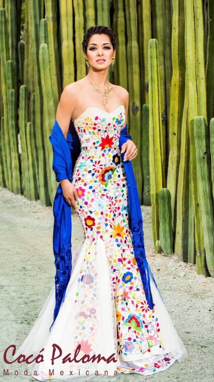 Vestido De Novia Bordado, Vestido De Novia Mexicano, Ropa Mexicana, Vestidos  De Novia, Vestidos Charros, Bodas Mexicanas Vestidos, Vestidos Bordados
