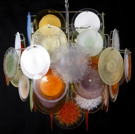Vistosi Chandeliers Designed With Colored Discs Hometone