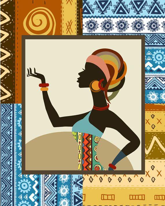 Mujer de Afrocentric mujer africana pintura impresión por iQstudio