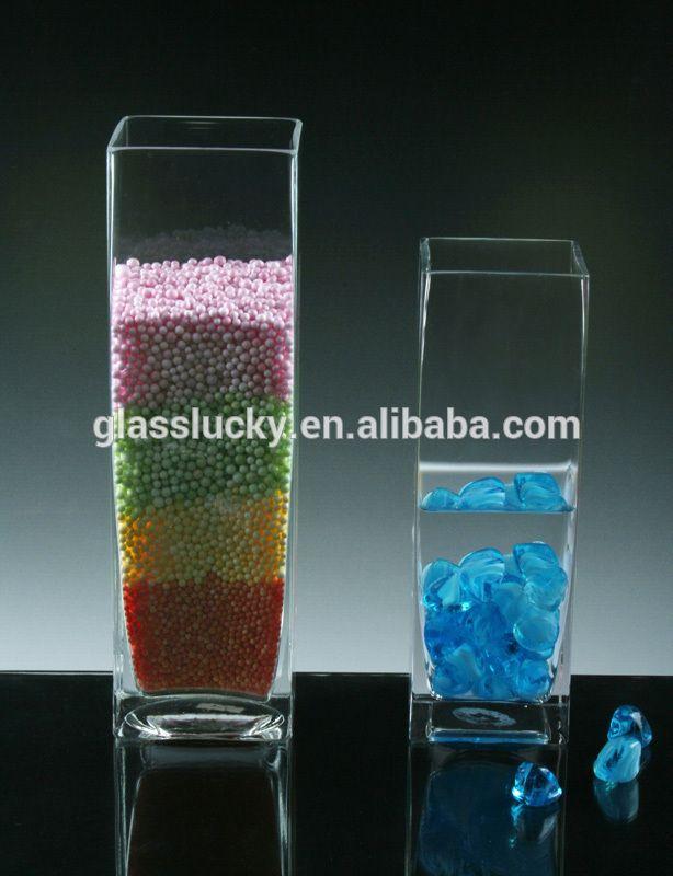 Alta transparente mão soprado vaso de vidro quadrado para decoração de casamento