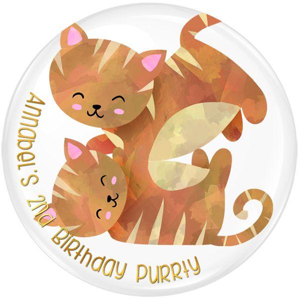 Kitten / Cat Personalised Birthday Party Badge #925