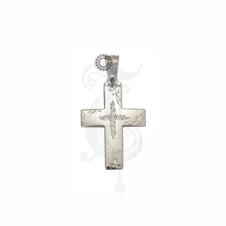 Ένας μοντέρνος σταυρός γυναικείος ή βαπτιστικός του οίκου ΤΡΙΑΝΤΟΣ από λευκόχρυσο Κ14 με ζιργκόν στο κέντρο και σκαλιστά φύλλα στα άκρα #τριαντος #γυναικειος #βαφτιση #λευκοχρυσο #σταυρος