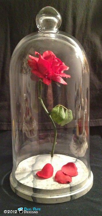Belleza Y La Bestia Disney Navidad Rojo Rosa cúpula de vidrio nieve Cake Topper Boda