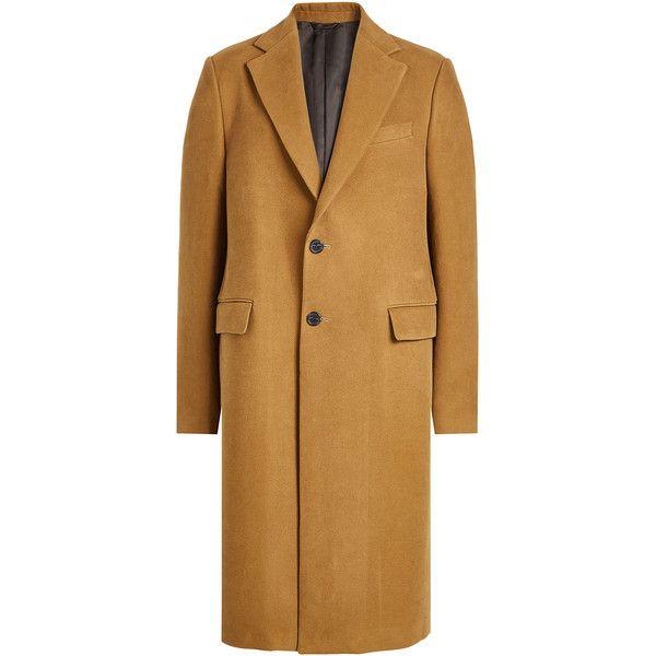 Raf Simons Cotton Coat (396.810 HUF) ❤ liked on Polyvore featuring men's fashion, men's clothing, men's outerwear, men's coats, camel, mens slim fit camel coat, mens camel coat, mens slim fit coat, men's cotton sport coat and mens fur collar coat