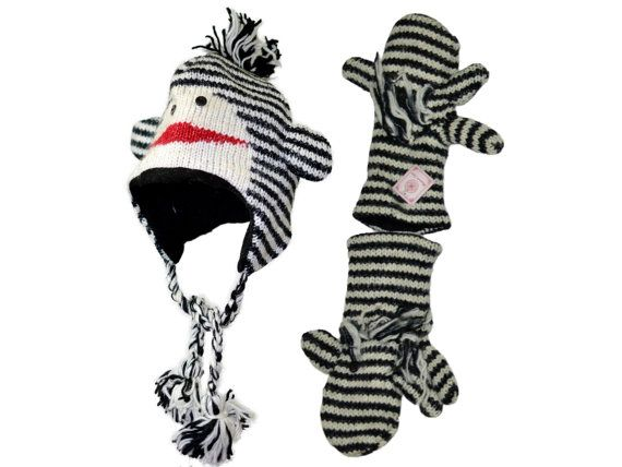 Black striped monkey animal knit hat with by HatsMittensEtc