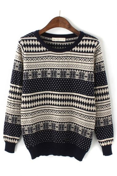 Vintage Snowflower Geometric Pattern Pullover Sweater