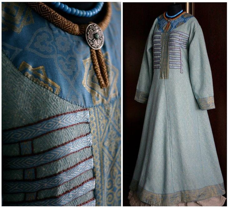 Viking dress based off the Birka grave 735. This is the only one I've found so far that has done all the bands, most people do just a few bands across the top. I was so happy to find an actual reproduction of this interpretation! By Savelyeva Ekaterina https://www.facebook.com/savelyeva.ekaterina.7?fref=photo More info about Birka 735 can be found at http://urd.priv.no/viking/smokkr.html