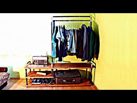 How to Make Industrial Pipe Storage clothes and Night Table in one