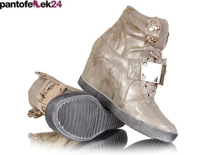 Złote koturny / Gold sneakers  / 79,90 PLN #sneakers #gold #summer #spring #autumn