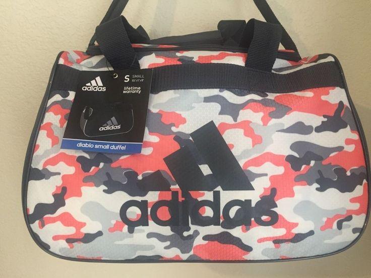 """ADIDAS Diablo Small Duffel Women Camo Grey Gym bag luggage 18.5""""x11""""x10"""" #Adidas"""