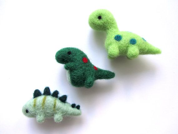 Needle Felted Dinosaur Magnet Set Felted TRex by WildWhimsyWoolies