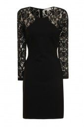 Black Bodycon Dress With Lace Sleeves And Back