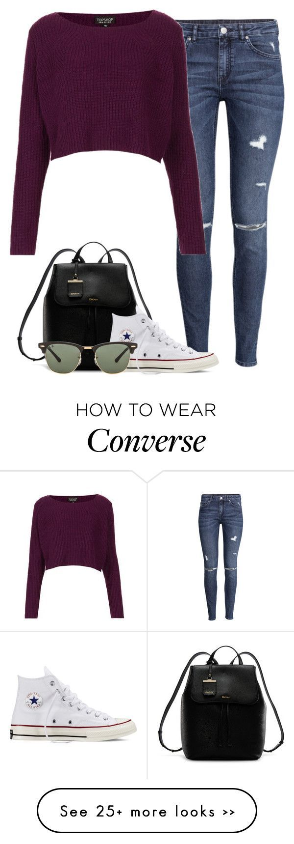 """""""Angel with Niall"""" by fanny483 on Polyvore featuring H&M, Topshop, DKNY, Converse and Ray-Ban"""