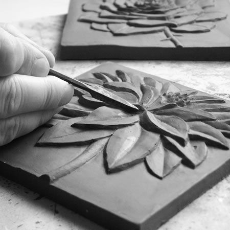 carved clay relief | ... accentuated by the subtle glaze fall-off on the edge of the relief