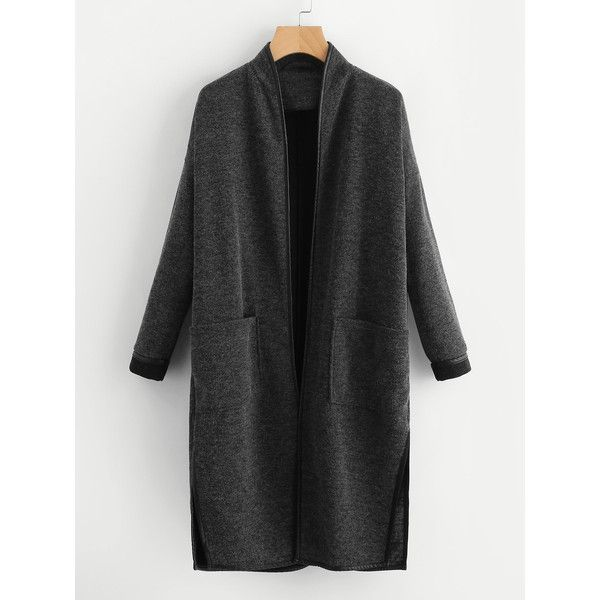 SheIn(sheinside) Faux Leather Binding Patch Pocket Front Coat (¥2,865) ❤ liked on Polyvore featuring outerwear, coats, grey, vegan leather coat, vegan coats, collar coat, long coat and grey coat