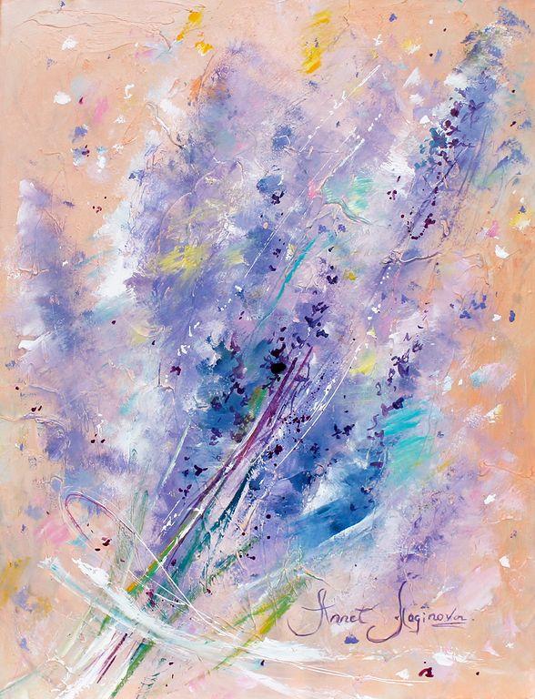Купить Лавандовый десерт - необычный подарок, нежность, лиловый, картина в лиловых цветах, сиреневый, лаванда
