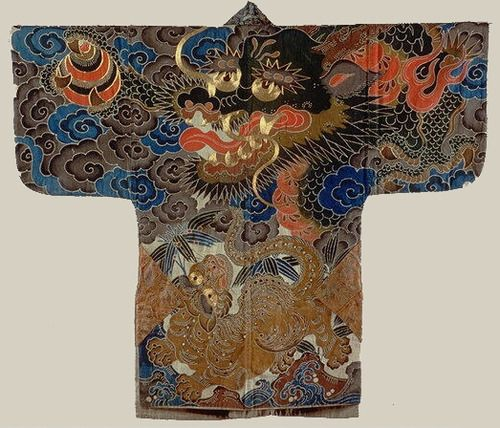 "Festival coat with dragon. Meiji period (1868–1912), Japan. Cotton tabby, resist dyed and painted.   Purchase, Seymour Fund and Citibank, N.A. Gift, 1986.  MET.  ""A tiger accompanies the bold dragon on this jacket. The dragon appears in the clouds above waves, and the tiger gambols among sprigs of bamboo; both associations originated in China. The front of the jacket features pine, plum blossoms, and bamboo, plants that occur together in the Chinese tradition as the auspicious ""three ..."