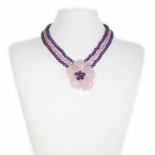 Collana Corta a Sfere di Quarzo Rosa, Ametista ed Argento 925 £220