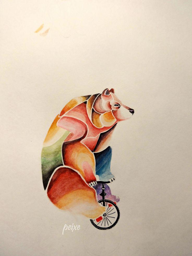 oso acuarelas lapiz tinta blanco 2016