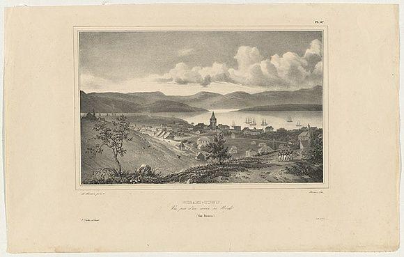 Artist: SAINSON, Louis de | Title: Hobart-town.  Vue prise du'un ravin au Norde (Van Diemen). | Date: 1834 | Technique: lithograph, printed in black ink, from one stone