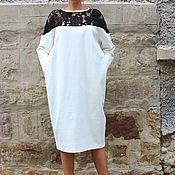 Одежда ручной работы. Ярмарка Мастеров - ручная работа Белое макси миди платье, кафтан с карманами и длинными рукавами. Handmade.