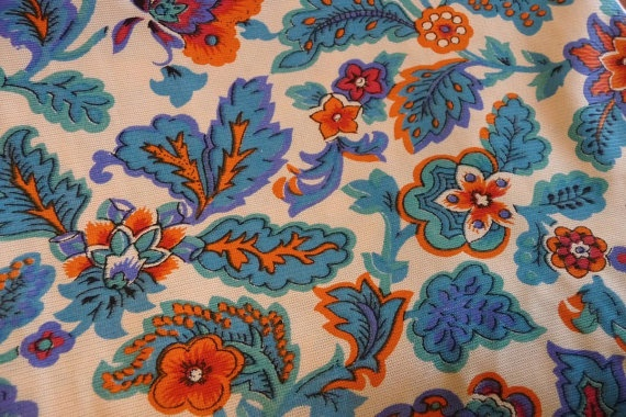 5 1 3 yd vintage retro turquoise and orange paisley floral fabric by the yard blue orange. Black Bedroom Furniture Sets. Home Design Ideas