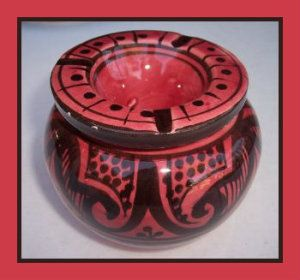 Moroccan Handmade Two-Piece Ceramic Small Ashtray,by Treasures of Morocco This Ceramic Ashtray, is an eye-catching authentic Moroccan, handmade ceramic ashtray. A unique gift for smokers. http://theceramicchefknives.com/ceramic-ashtray-lid/