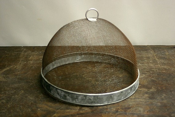 Vintage Food Cloche Metal Wire Mesh Wire Vintage Food