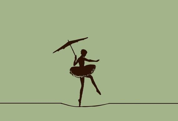 Circus Ballerina Wall Decal tight rope trapeze walker children decor , Carnival Decoration for Kids rooms. $29.00, via Etsy.