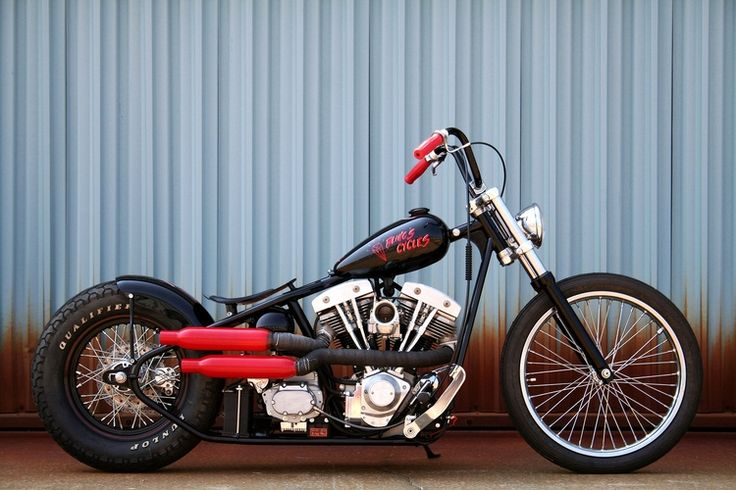 "Bobber ""Randy JR"" Red Mufflers by Bling's cycles #motorcycles #bobber #motos 