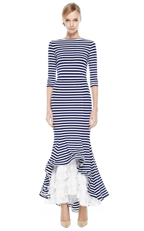 Striped Maxi Dress With Ruched Eyelet Bottom by Natasha Zinko for Preorder on Moda Operandi