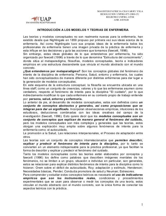 MAGISTER PATRICIA CHAVARRY YSLARESOLUCION UNPRG-075-2008-CUREGISTRO UNPRG- 655MANR A929420INTRODUCCIÓN A LOS MODELOS Y TEO...