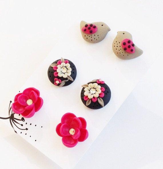 Pink Post Earrings Earrings Set Little Birdie by PiperPixieDesigns