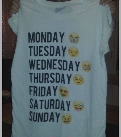 Monday thru Sunday Emoji White T shirt – Fresh-tops.com