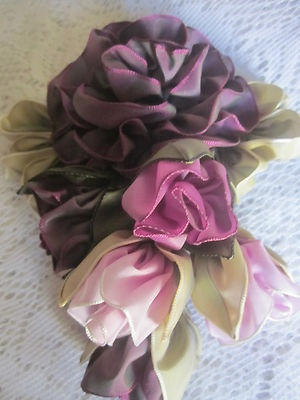 "Vintage Style French Ombre Millinery Ribbon Flower Pin~5"" x 6"" ~Rose Buds 