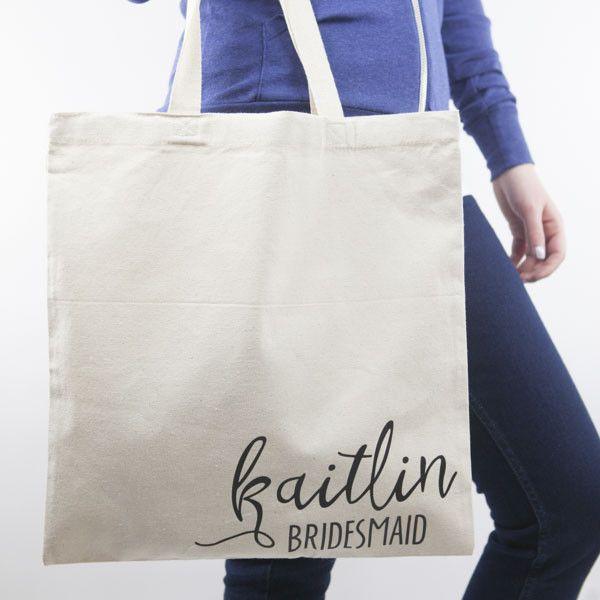 Personalized Bridal Party Tote Bag #bridesmaid-gifts #bridesmaid-tote-bags #wedding-tote-bags