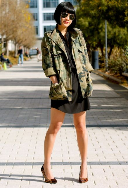 Fishing jackets have A TON of pockets. This @Club Monaco camo jacket has six, and I used all of them! Aqua x @Bloomingdale's silk dress, @Kenneth Cole Productions shoes, @Ray-Ban sunglasses