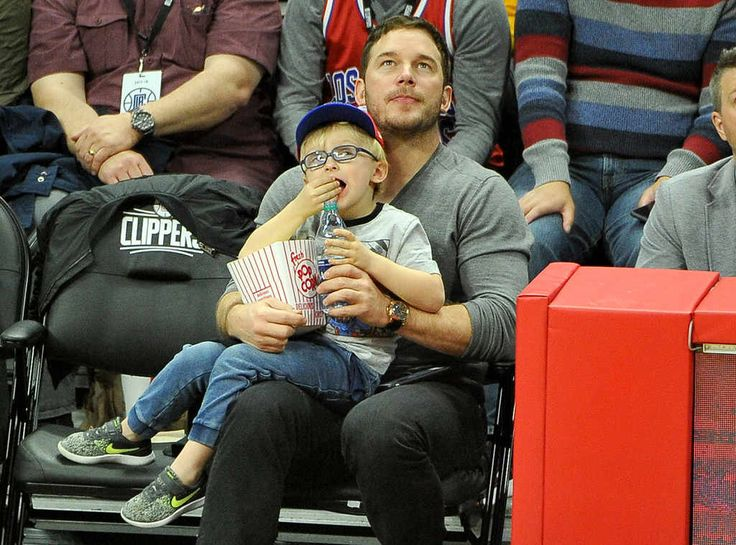 Chris Pratt & Jack Pratt from The Big Picture: Today's Hot Photos  Popcorn and Pratts! The adorable father-son duo is spotted at the L.A. Clippers game.