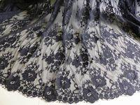 Черный кружевной ткани, Винтаж ресниц цветочная ткань, Свадьба ткань с Scalloped край, Свадебные болеро кружева