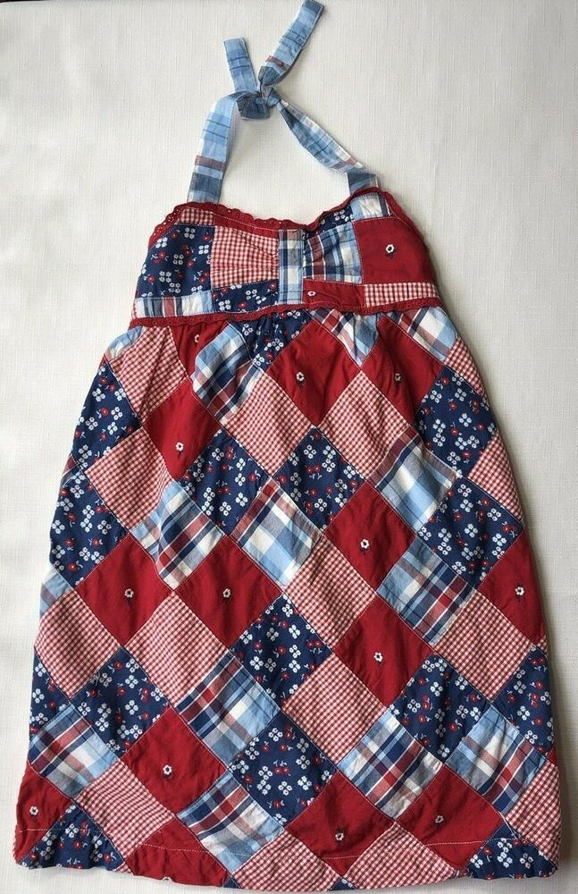 49aa3012f64 Janie and Jack Girls 5T American Picnic 4th of July Red Patchwork Halter  Dress  JanieandJack