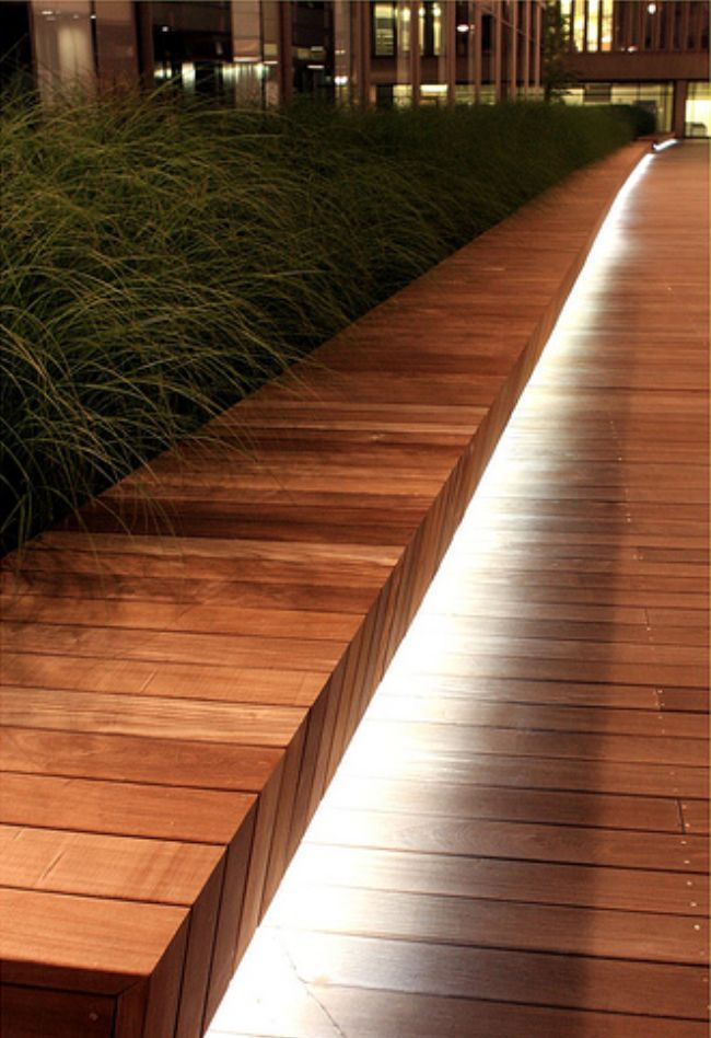 Down Lighting For Roof Deck Benches