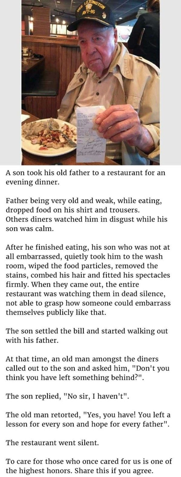 When An Elderly Man Was Being Judged In A Restaurant, His Son Did The Best Thing