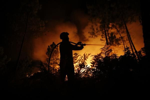 Un pompier tente d'éteindre un feu de forêt à Tondela, près de Viseu, le 23 août 2013.