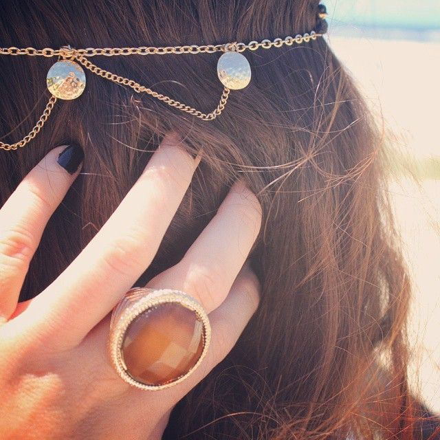 #onsale #chunky #ring only $2 with #coin #headchain #befierce #standout #beachlife #Boho http://www.befiercestore.com/#!product/prd1/3700997641/gold-coin-head-chain