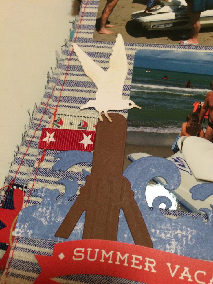 a tengerhullám, a cövek és a sirály kartonból kivágva, felirat pedig matrica - kedvenc oldalam:)