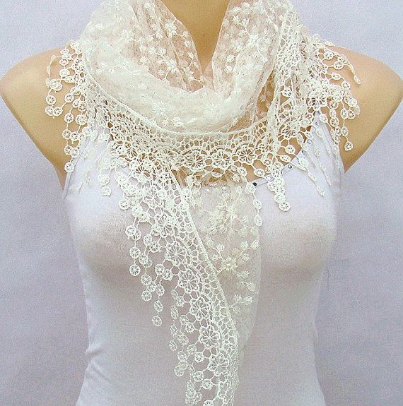White embroidery lace scarf, spring, summer, lace scarf, triangle scarf, gauze qualitative scarf, shawls, necklace
