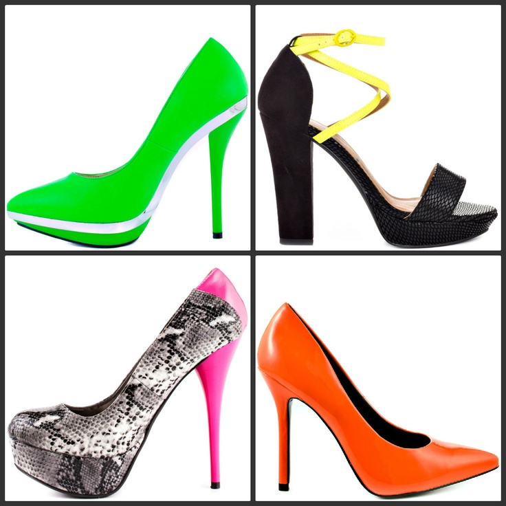 Trend Alert: Neon Shoes - http://www.heels.com/shoes-for/neon-shoes ... Electrify your shoe style with our wide selection of neon pumps, bright sandals and fluorescent flats! Whether you prefer a subtle trim of bold color or a bright color blocked upper for maximum voltage, Heels.com has your neon needs covered! Accent yourself and light up the night with neon shoes